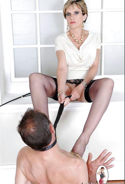Фото №11 Зрелая дама в чулках доминирует над пожилым самцом