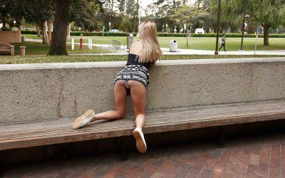 Фото №6 Студентка показала трусики под юбкой на улице